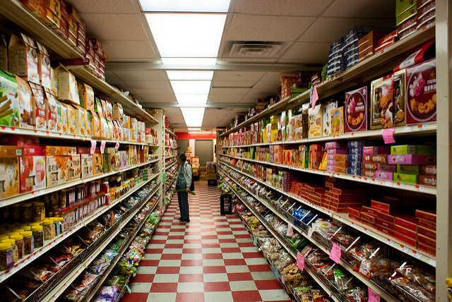 An aisle in a Chinese grocery store.
