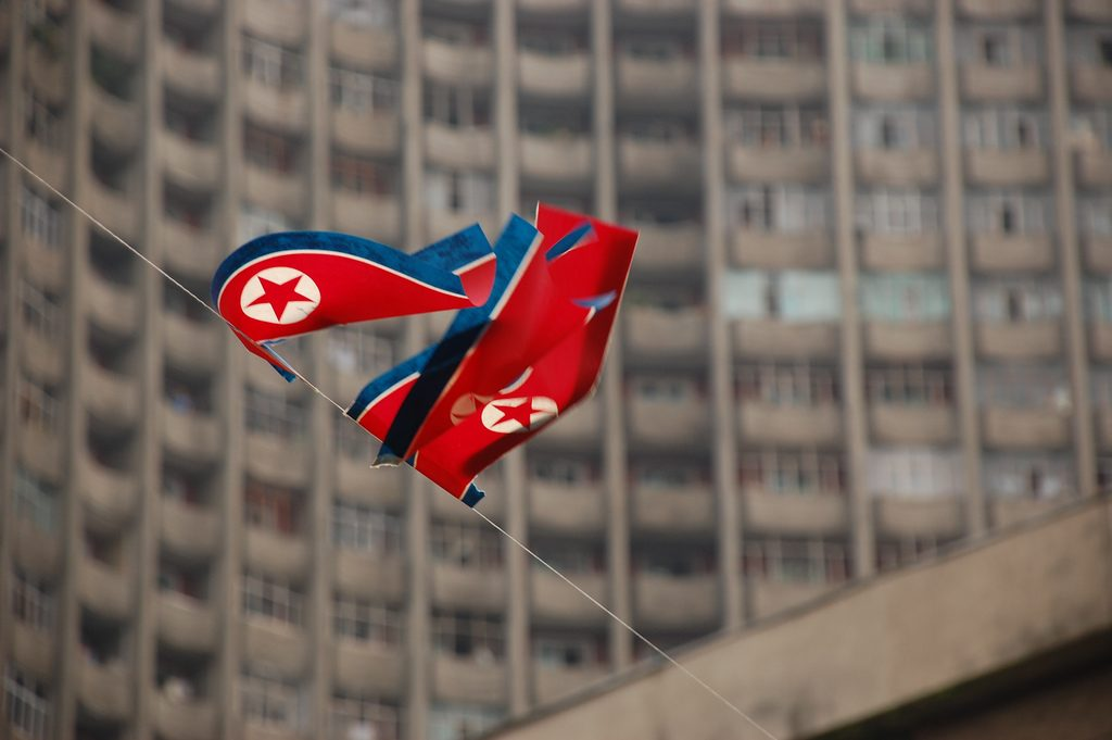 North Korean flags fluttering in a breeze