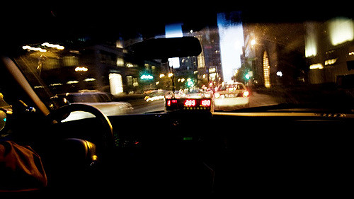 The view from inside a cab.