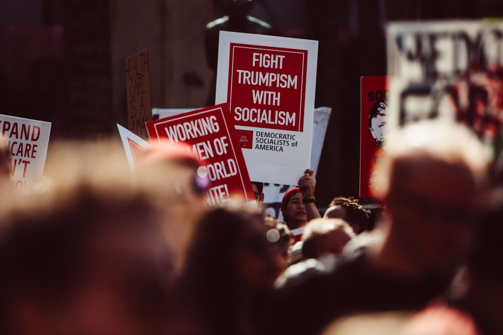 Protest signs inviting the viewer to fight Trumpism with socialism.