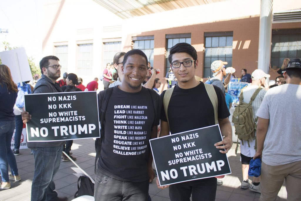 Protesters at an anti-Trump event.