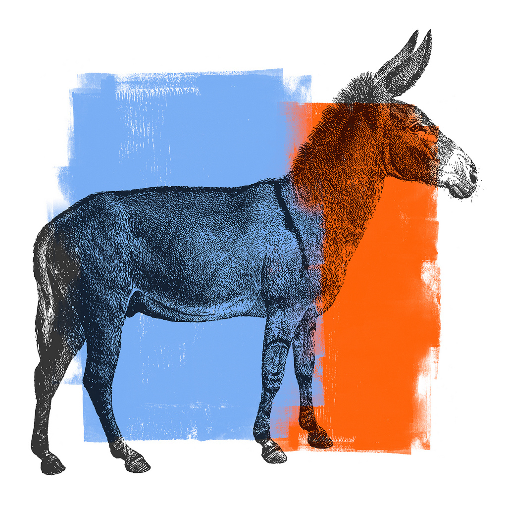 A drawing of a donkey with red and blue blocks of color