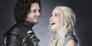 A promotional still of Kit Harrington and Emilia Clarke from Game of Thrones.