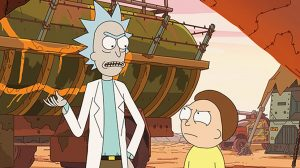 A still from Rick and Morty featuring the titular characters in an argument.