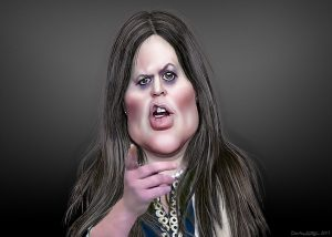 A caricature of Sarah Sanders