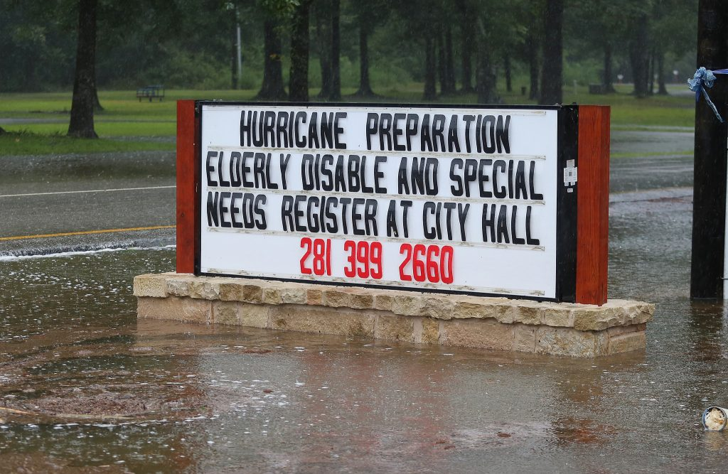 A sign advising disabled people to register with relief workers in Texas