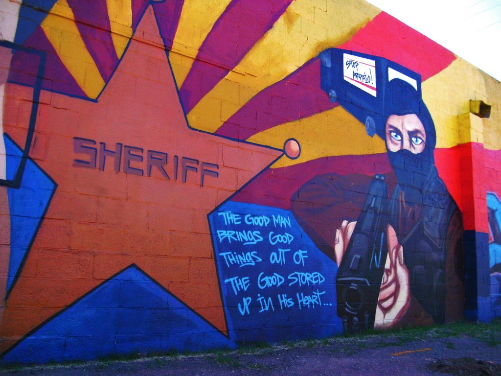 A mural opposing sheriff joe arpaio in arizona