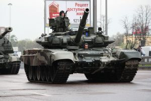 A Russian tank in a procession