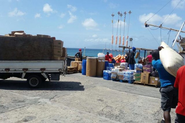 Boats laden with relief supplies leaving Nevis for Anguilla