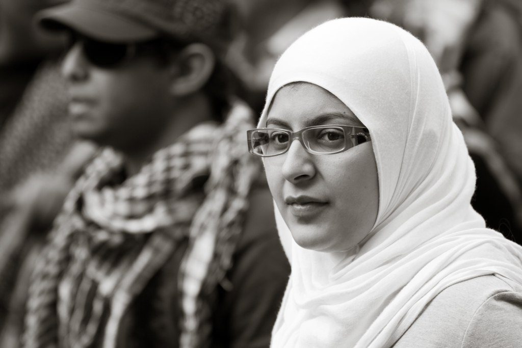 A Muslim woman at a protest.