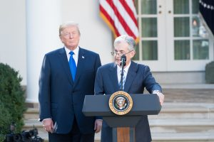 Donald Trump and Jerome Powell in the White House Rose Garden