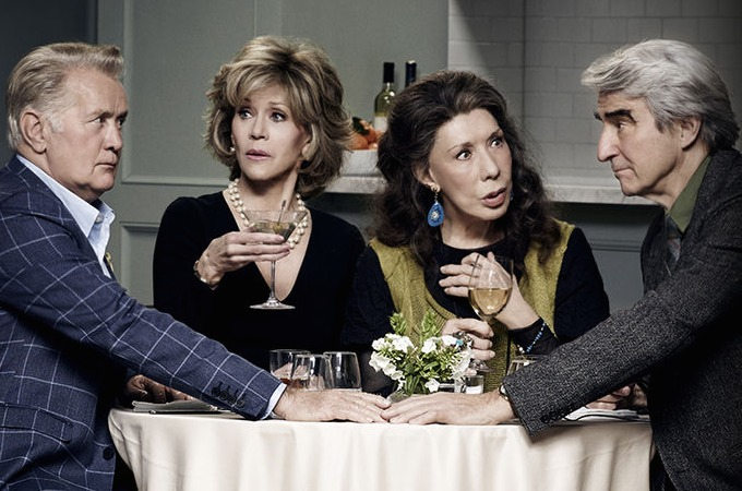 A still from Grace and Frankie featuring all four main cast members at a dinner table